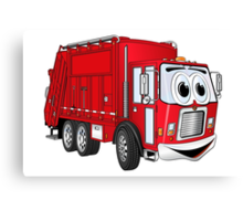 Red Smiling Garbage Truck Cartoon Canvas Print