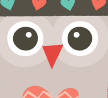 Hipster Owlet Cream Sticker