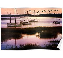 Boats at Anchor~ Evening Tranquility Poster