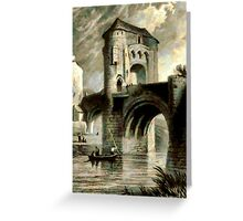A digital painting of Raglan Castle Gateway and Bridge, Monmouthshire, Wales in 1853 Greeting Card