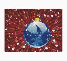Blue Christmas ball on sparkle red background Kids Clothes