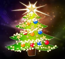 Cartoon Christmas tree background 2 by AnnArtshock
