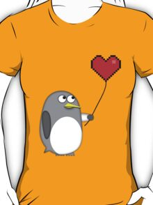 Penguin with a pixel heart balloon T-Shirt