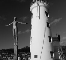 Scarborough Lighthouse And The Diving Belle by EarlCVans