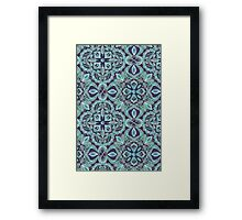 Chalkboard Floral Pattern in Teal & Navy Framed Print