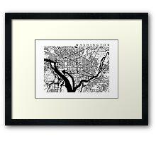 Washington DC Black and White Map Art Framed Print