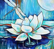 Serenity Lotus with Dragonfly by MelanieDouthit