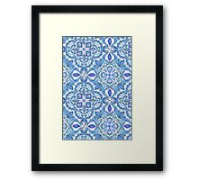 Cornflower Blue, Lilac & White Floral Pattern Framed Print