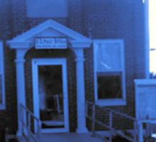 Small Town Post Office in Cyanotype Sticker