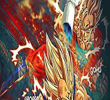 Goku and Majin Vegeta Fighting 2 by GokuYasha