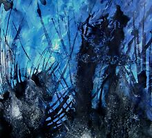 Midnight Shadow contemporary abstract painting Blue Black by 7RayedDesigns