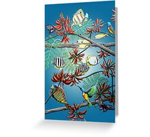Fish, Feather & Flame Tree Flowers Greeting Card