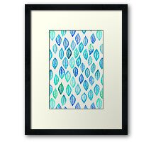 Watercolor Leaf Pattern in Blue & Turquoise Framed Print