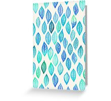 Watercolor Leaf Pattern in Blue & Turquoise Greeting Card