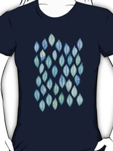 Watercolor Leaf Pattern in Blue & Turquoise T-Shirt