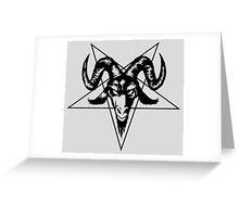 Satanic Goat Head with Pentagram 2 (black) Greeting Card