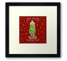 Christmas card with Christmas tree in the form of sheep and gifts Framed Print