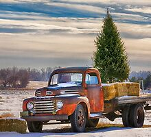Red Truck Country Holiday Card by Quattrophoto