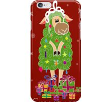 Christmas card with Christmas tree in the form of sheep and gifts iPhone Case/Skin