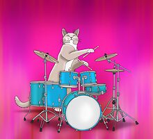 Cat Playing Drums - Pink by Orna Artzi