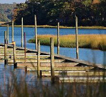 Autumn at the Nissequogue Boat Slips by Gilda Axelrod