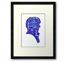 Sherlock typography (blue) Framed Print