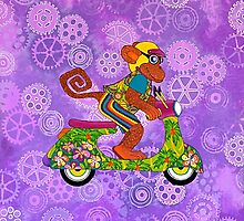 Vespa Monkey Business by Lisa Frances Judd~QuirkyHappyArt