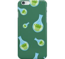 seamless pattern with flasks on a green background iPhone Case/Skin