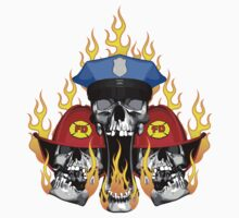 Flaming Police and Fire Skulls by dxf1969