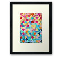 Patterned Honeycomb Patchwork in Jewel Colors Framed Print