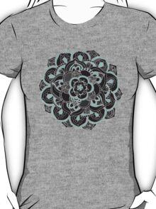 Mint & Charcoal Mandala Flower on Black Polka Dots T-Shirt