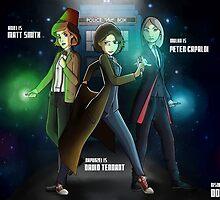 Group Doctor Who (Capadi, Smith, Tennant) Vs Disney Princess (Raiponce, Mulan, Ariel) by Kurostars
