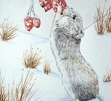 Cute mouse and red berries snow scene wildlife art   by pollywolly
