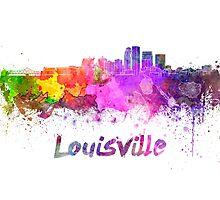 Louisville skyline in watercolor by paulrommer