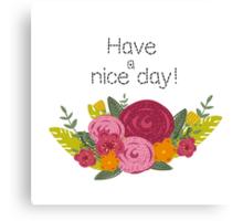Hand drawn flowers greeting Canvas Print