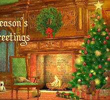 Fireplace Christmas Card - Seasons Greetings by solnoirstudios