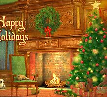 Fireplace Christmas Card - Happy Holidays by solnoirstudios