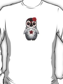 Red Day of the Dead Sugar Skull Penguin  T-Shirt