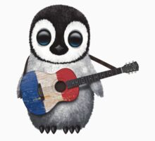 Baby Penguin Playing French Flag Guitar Kids Clothes