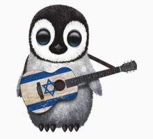Baby Penguin Playing Israeli Flag Guitar Kids Clothes