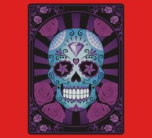 Blue and Purple Sugar Skull with Roses  Kids Clothes