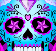 Blue and Purple Sugar Skull with Roses  Sticker