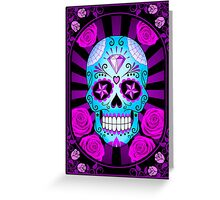 Blue and Purple Sugar Skull with Roses  Greeting Card