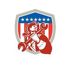 Mechanic American Patriot Holding Spanner Shield by patrimonio