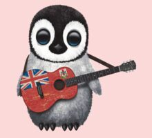 Baby Penguin Playing Bermuda Flag Guitar Kids Clothes