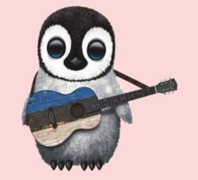 Baby Penguin Playing Estonian Flag Guitar Kids Clothes