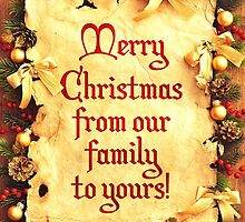Holiday Parchment Christmas Card - Merry Christmas by solnoirstudios