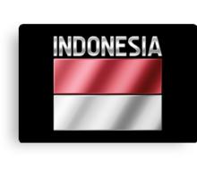 Indonesia - Indonesian Flag & Text - Metallic Canvas Print