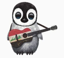Baby Penguin Playing Iraqi Flag Guitar Kids Clothes