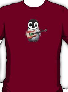 Baby Penguin Playing Lebanese Flag Guitar T-Shirt